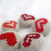 Red Hearts Hand Embroidered Buttons by deepindigo on Etsy