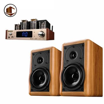 A2 Wood 1 Pair 5 Inch Bookshelf Speakers Hifi Active Amplifier Top Sound Meeting Room Home Theatre 2.0 Multimedia Speaker System