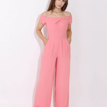 LOVE Pink Cold Shoulder Jumpsuit