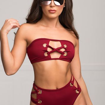 Copacabana Beach Two Piece Swimsuit - Burgundy