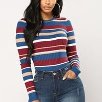 Line Me Up Striped Bodysuit - Blue Multi