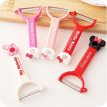 Hello kitty melody Minnie silicone hanging peeler Fridge magnets cartoon fruit knife cute kitchenware