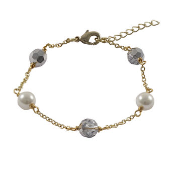 6mm Silver AB Preciosa Beads And 6mm White Glass Pearls On Gold Plated Brass Chain Bracelet, 5.5