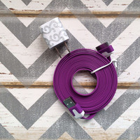 New Super Cute Silver Glitter Scroll Designed USB Wall Connector + 10ft Flat Purple iPhone 4/4g/4s Cable Cord