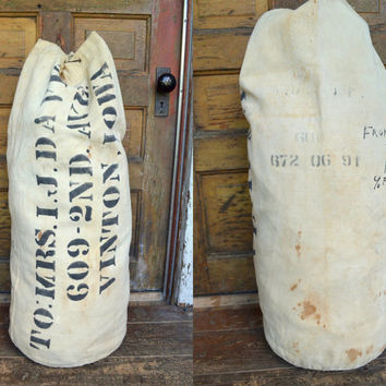 Vintage 1930's Heavy Canvas US Navy Military Stenciled Duffle Bag