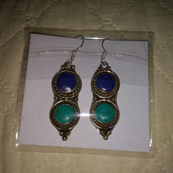 Blue Lapis & Turquoise .925 Sterling silver Earrings