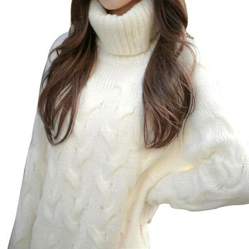 Women Chunky Knitted Sweater Turtleneck High Neck Sweater Long Sleeve Winter Warm Pullovers Long Loose Baggy Dress White