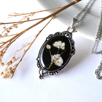 Victorian Antique Style Real Pressed White Baby's Breath Flower Eco Resin Pendant