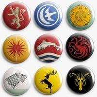 Game of Thrones Pinback Buttons 1Inch.Buttons Badges, House Arryn, Baratheon, Stark, Greyjoy,lanniser, Martell, Tully, Tyrell