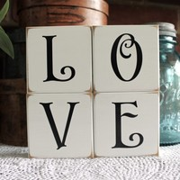 Shelf Sitter Sign Blocks Love Set of 4