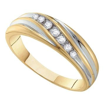 14kt Two-tone Gold Mens Round Diamond Wedding Band Ring 1/6 Cttw