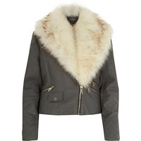 River Island Womens Light grey faux fur collar biker jacket