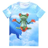 Yoga Zen Frog in The Sky All Over Graphic Print T-Shirt | Gifts for Animal Lovers