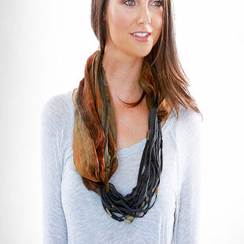 Loop Silk Dyed Necklace Scarf in Clay