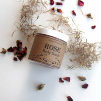 Rose Body Scrub, Salt Scrub, Pink Himalayan Sea Salt Scrub, Organic Salt Scrub, Rose Scrub, Body Scrub