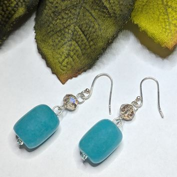 Artisan Crafted Sterling Silver Hemimorphite Crystal Dangle Earrings