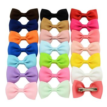 20pcs/Lot Cheering Candy Barrettes Kids Bowknots Solid Ribbon Hair Clip Bows Girls Hairpins Hair Accessories