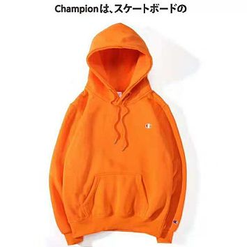 Champion Autumn And Winter New Fashion Bust Embroidery Logo Women Men Hooded Long Sleeve Sweater Orange