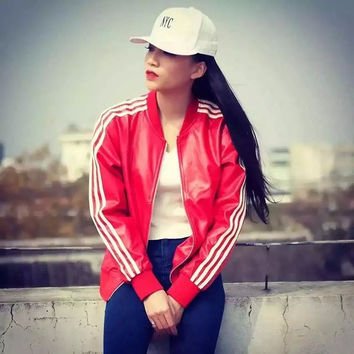 """Adidas"" Print Autumn Winter Sweatshirt Women and Men Leather Jacket [6446619844]"