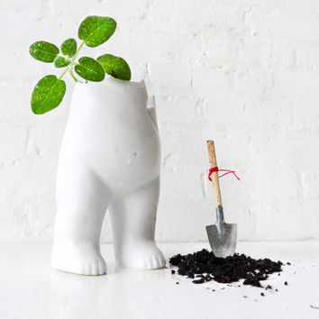 Tushiez Spring Planter - 5 INCH size - Cute Spring Indoor Garden Planter or Vase - Black or White - Glossy or Matte - Plants Not Included