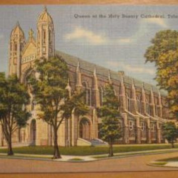 Vintage Queen Of The Holy Rosary Cathedral Toledo Ohio Postcard