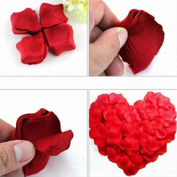 Rose Petals 1000pcs Fake Silk Red Wedding Party Ceremony Marriage Room Decoration Artifical Decor Flower Petal