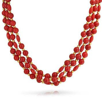 Three Multi Strand Red Orange Bead Gold Plated Necklace Coral