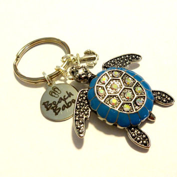 Beach Babe Sea Turtle Keychain, Anchor Keychain, Coastal Gift, Cute Car Key Chain, Beach Theme Car Accessory, Turtle Gift, Gift Under 20