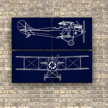 Airplane Prints Set Of 4 Pieces Nursery Art Decor Wall Aviation