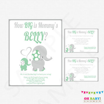 Mint Elephant Baby Shower, How Big is Mommy's Belly, Instant Download, Mint and Gray, Girl Boy Baby Shower, Elephant Games Printable ELLMG