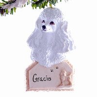 Poodle Personalized Christmas Ornament - White Poodle Ornament Personalized free, handmade and painted.