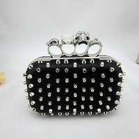PUNK Hedgehog Rivet Evening Clutch Skull Knuckle Ring Handbag Black Stud Purse