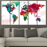 Retro WORLD MAP Canvas Print Art Drawing on  - Watercolor World Map 5 Piece Canvas Art Print - Ready to Hang - Colorful World Map