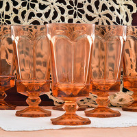 Water Goblets Iced Tea Glasses Fostoria Virginia Peach Drinking Glasses Set of 6 Glasses