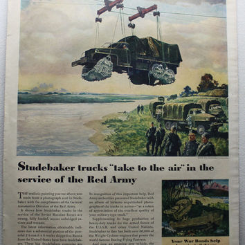 Vintage 1945 Studebaker Trucks War Red Army Service Print Ad Advetising Wall Art Decor