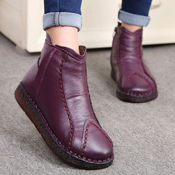 New winter cotton-padded boots genuine leather mother's boots hand-made flat and velvety cotton shoes women's boots ankle boots