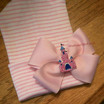 Newborn Hospital Hat Baby's 1st Keepsake Hat with Pink Bow and Rhinestone CASTLE Because Every Baby Girl is a PRINCESS and Needs One!