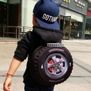 Small 3D Circle Tires Personalized Fashion Kid Backpack Pouch School Bags Travel Book Packs Children Cool Boy and Girl 3-8 Years