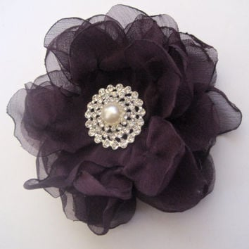 Plum Eggplant Chiffon Flower Hair Clip Wedding Bride Bridesmaid Mother of the Bride Prom with Gorgeous Rhinestone and Pearl Accent