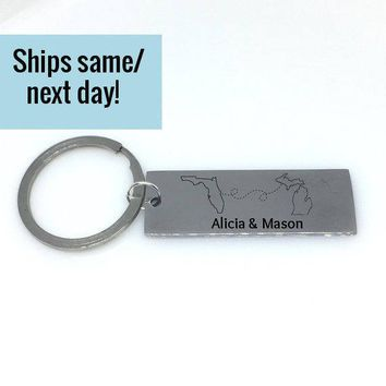 Couple Keychain, Long Distance Relationship, Long Distance Keychain, Boyfriend Gift, Girlfriend Gift, State Keychain, Engraved State Charm