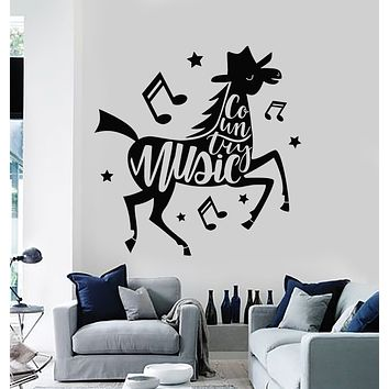 Vinyl Wall Decal Country Music Horse Musical Notes Stickers Mural (g3026)