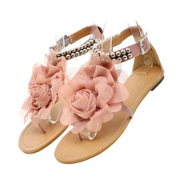 Flat Heel Flower Sandals Various Size Women Shoes   pink