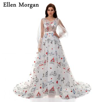 Pattern Print Ball Gowns Prom Dresses 2018 V Neck Long Sleeve Lace up Transparent Beautiful Puffy Runway Party for Women Wear