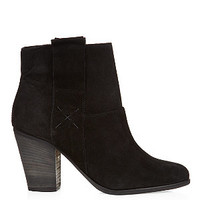 Black Suede Side Zip Ankle Boots