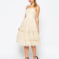 ASOS | ASOS SALON Tiered Lace Midi Prom Dress at ASOS
