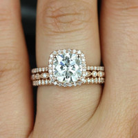 Catalina & Ultra Petite Bead Eye 14kt FB Moissanite and Diamonds Halo TRIO Wedding Set (Other metals and stone options available)
