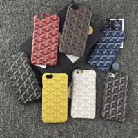 French Luxury Goyar Real leather case cover For iPhone 6 6S 6 Plus 7 7 Plus Exquisite fashion Phone Case