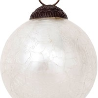 Luna Bazaar Large Mercury Glass Ornament (Lana Design, Crackle Motif, 3-Inch, Pearl White) - Vintage-Style Decoration