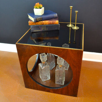 Mid Century Modern Cube Table, Side Table with Circle Cutouts, Floating Glass Table, Smoked Glass Top, Eames Era End Table