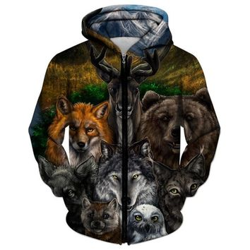 Bear Wolf Deer Fox All Over Print Zipper All Over Print Hoodie - Hunting Sweater